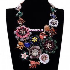 Three Dimensional Floral Statement Necklace.