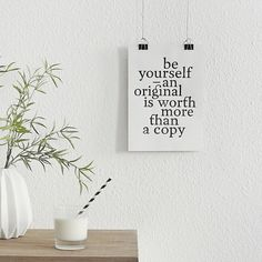 """Wooden Letters & Words- Be yourself – an original is worth more than a copy"""" (unframed)    TheTrueType: are handmade typography prints for your motivational, inspirational or decorative purposes – type, print, quote – a unique product by Proto-Type via en.dawanda.com"""
