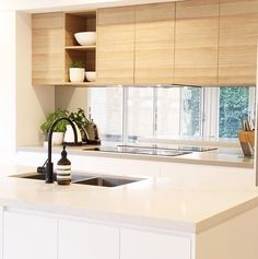 Unit one kitchen colour selection inspiration - natural oak cabinetry is stunning! First Kitchen, New Kitchen, Kitchen Cabinets, Kitchen Island, Interior Styling, Kitchen Remodel, New Homes, Kitchen Designs, Kitchens