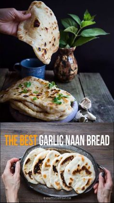 How to make the best garlic naan bread that is so soft, stretchy, slightly chewy, and garlicky that you will love tearing and can't stop eating these naans. You can make overnight naan bread with this recipe too. Make Naan Bread, Recipes With Naan Bread, Garlic Naan Bread Recipe Easy, Naan Bread Machine Recipe, How To Make Naan, Naan Recipe Video, Asian Bread Recipe, Indian Food Recipes, Asian Recipes