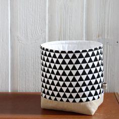 Stockage de tissu panier moderne noir et blanc
