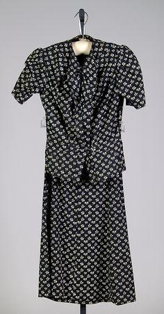 Dress House of Schiaparelli (French, 1928–1954) Designer: Elsa Schiaparelli (Italian, 1890–1973) Date: fall 1937 Culture: French Medium: Co...