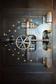 old banking Vintage Bank Vault Door Safe. An old vintage bank vault safe door. Gives a nice , Industrial Door, Vintage Industrial Decor, Steampunk Background, Antique Safe, Bank Safe, Whiskey Room, Millionaire Homes, Safe Door, Safe Vault