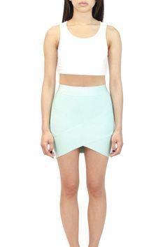 Crossed Mini Bandage Skirt Available in: Mint, Blush, Citrus, Cobalt and Black.  oakandstate.com