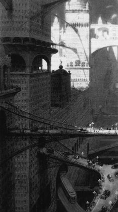 "urbain: ""Visionary City of New York, by William Robinson Leigh Harvey Wiley Corbett & Moses King & "" Metropolis 1927, Futuristic City, Science Fiction Art, Environment Design, Future City, Sci Fi Art, Dieselpunk, Art And Architecture, Fantasy Art"