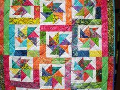 Batik Quilt Scrap-Baby scrap quilt-Batik Lap-Modern Toddler-Crib-Bright colors-Nursery-Boy or girl-Playmat-BatikTwirligigs
