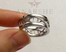 Polished, Shiny Dna ring, ring Dna, science ring, molecule ring, biology ring, bold dna ring, wedding bands, engagement ring, wedding