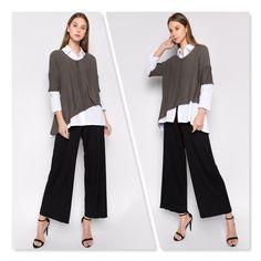 2fe740e821c #Et'lois USA #Artsy Women's Fashion & Style #Lagenlook #Asymmetric Top &  White Shirt