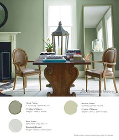 BenjaminMoore Louisburg Green with Regal Select, matte finish (wall); Wickham Gray with Regal Select, semi-gloss finish (trim); and, Guilford Green with Regal Select, semi-gloss finish (mantel). Exterior Paint Colors, Exterior House Colors, Paint Colors For Home, Home Interior Design, Interior And Exterior, Interior Decorating, Wall Exterior, Painting Trim, House Painting