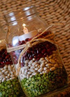 Christmas Decor With a Mason Jar, Dark Red Beans, White Northern Beans, and Split Peas