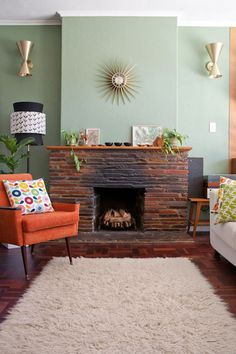 wall color & orange chair: sneak peek: matt & kathy allison | Design*Sponge