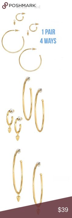 Stella & Dot Goldtone Earrings Having a bad hair day? Putting it up in a ponytail is a always the go to hairstyle.  Did u ever take notice when you change your earrings you can change your bad hair day altogether.  These 4 in 1 Stella and Dot earrings are just what your ponytail needs.  Brighten your day and your mood. Will consider all offers using the offer button only I do not negotiate on my listings. No trades. Stella & Dot Jewelry Earrings