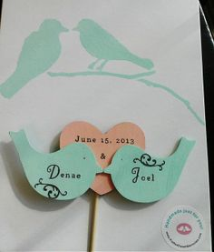 Customized - Love birds cake topper - lovebirds - cake topper - rustic chic wedding. $34.99, via Etsy.
