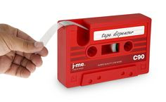 "Cassette Tape Holder and Dispenser - - Do not forget old time classic Cassette, and keep them as your old day memory when you have this Cassette Tape Holder and  tape Dispenser. It is available in 2 colours, bright red and black, and has a size 5.5"" long x 1.25"" wide x 3.5"" tall"