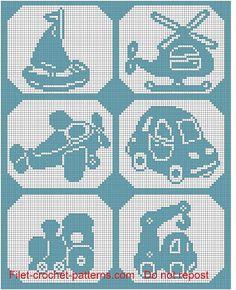Baby blanchet with transportation filet crochet pattern