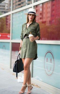 платье рубашка цвета хаки
