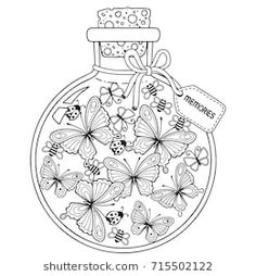 Coloring for adults. Vector Coloring book for adults. A glass vessel with memories of summer. A bottle with bees, butterflies and ladybugs - buy this vector on Shutterstock & find other images. Adult Coloring Book Pages, Printable Coloring Pages, Colouring Pages, Coloring Sheets, Coloring Books, Doodle Coloring, Mandala Coloring, Glass Vessel, Colorful Drawings