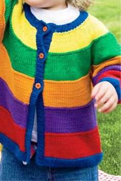 Playtime Colors Sweater - Knitting Patterns and Crochet Patterns from KnitPicks. Baby Boy Knitting Patterns Free, Baby Cardigan Knitting Pattern, Knitting For Kids, Crochet Patterns, Rainbow Cardigan, Knitted Baby Clothes, Baby Knits, Toddler Sweater, Baby Sweaters