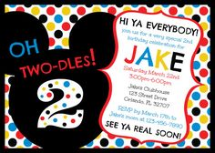Mickey Mouse Clubhouse Oh Two-dles 2nd Birthday Invitation Digital Printable File