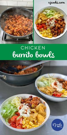 Take your taste buds to colourful Mexico with these popular burrito bowls. Chicken Burrito Bowl, Chicken Burritos, Burrito Bowls, Mexican Chicken Recipes, One Pot Dinners, Cooking Recipes, Healthy Recipes, Salad Recipes, Easy Eat