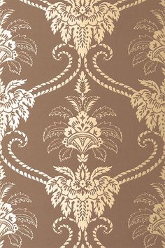 ANNA FRENCH WALLPAPER - WILD FLORA - DAMASK - BROWN/GILVER, want for my bathroom