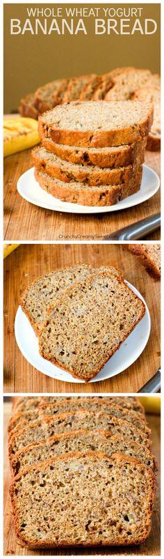 Whole Wheat Yogurt Banana Bread - a healthier way to enjoy your favorite quick bread