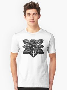 Black roses for the dramatic dark romantic goth gardener of darkness. A classic elegant fashion style, with magical luxury vintage noir flavor of black and white glamorous lifestyle. Romantic Goth, Black Roses, Tshirt Colors, Chiffon Tops, Darkness, Classic T Shirts, Street Wear, Glamour, Fashion Outfits