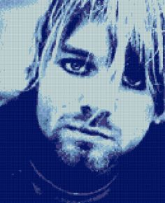 Kurt Cobain Blue Cross Stitch portrait pattern Nirvana PDF - EASY chart with one color sheet And regular chart! Two charts in one! by HeritageCharts on Etsy