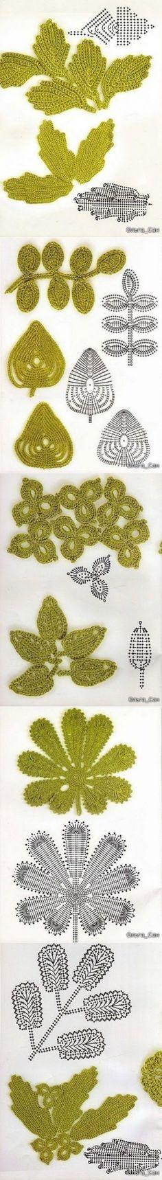 Схемы вязания листиков для ирландского кружева.