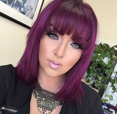 23 Stunning Balayage Ombre Hair Color Shades for 2019 Magenta Hair, Violet Hair, Hair Color Purple, Pink Hair, Short Purple Hair, Pink Purple, Pretty Hair Color, Hair Color Shades, Medium Hair Styles