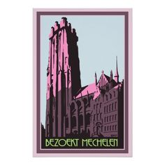Pastel Art Deco Visit Mechelen Flanders Belgium travel advertising poster (also in English, also on postcards)