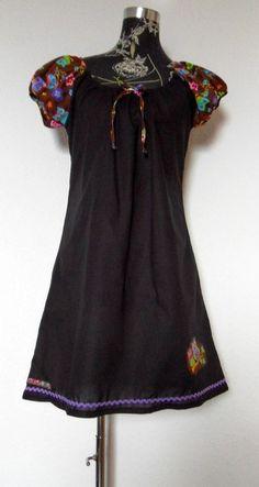 Kurzarmkleid  Kleid  Eule Vogel schwarz braun bunt von Zellmann Fashion auf DaWanda.com