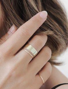 Minimal yellow gold rings to make up the perfect stack   Vrai & Oro #accessoriesjewelry #handmadejewelryrings #HandmadeGoldJewellery