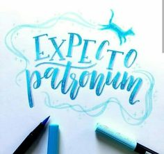 last day of the challenge with (thanks for a fun challenge Juliette!)today's prompt is expecto patronum✨ I took the quiz and my patronus is a black and white cat . Brush Lettering Quotes, Brush Pen Calligraphy, Calligraphy Doodles, Hand Lettering Styles, Hand Lettering Alphabet, Doodle Lettering, Calligraphy Letters, Calligraphy Quotes, Typography