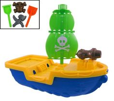 Pirates at the beach! This awesome pirate ship is fun and colorful. This beach set that has everything your little kid needs for big time beach fun. Includes a shovel rake pirate skull and weapo...