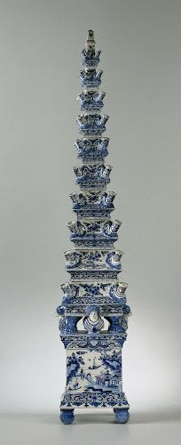 Flower pyramid of Delft earthenware. Delft, c. 1700 Tulips, which came from Turkey, were introduced into the Netherlands in the 16th century. These exotic flowers were greatly admired and numerous species were meticulously recorded, along with their Latin names, in tulip albums. In the course of the 17th century, special vases were designed for tulips.