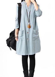 Button Closure Side Slit Blue Long Sleeve Dress | lulugal.com - USD $27.79