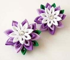 Kanzashi Fabric Flowers. Set of 2 hair clips. Orchid and by JuLVa