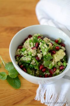 Vegan Couscous Salad with Pomegranate Seeds and Sugar Snap Peas
