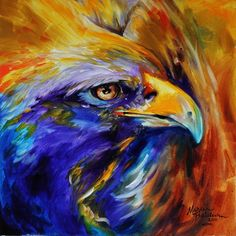 """GOLDEN EAGLE ABSTRACT"" by Marcia Baldwin, Shreveport, Louisiana // BOLD COLOR, EXCITING BRUSH STROKES, CAPTURES THE POWER OF THE GOLDEN EAGLE IN ABSTRACT. AN ORIGINAL OIL PAINTING BY MARCIA BALDWIN // Imagekind.com -- Buy stunning, museum-quality fine art prints, framed prints, and canvas prints directly from independent working artists and photographers."