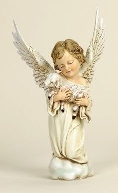 Cherub Angel Holding Lamb Large Tall Joseph Studios Collection Angels bless and angels keep Angels guard me while I sleep Bless my heart and bless my home Bless my spirit as I roam Guide and guard Outdoor Nativity Sets, Garden Angels, Garden Statues, Garden Sculptures, Christmas Central, Angel Art, Indoor Outdoor, Collection, Joseph