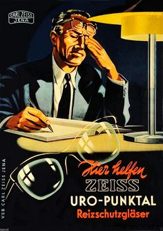 Vintage Ad 1940 Rare For German Carl Ziess Eyeglass lenses