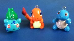 Bulbasaur, Charmander, and Squirtle. Pokemon chibi clay charms
