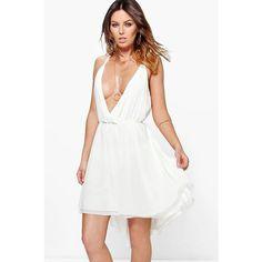 Boohoo Debbie Chiffon Plunge Draped Dress (1,040 INR) ❤ liked on Polyvore featuring dresses, chiffon drape dress, chiffon dresses, drape dress, white chiffon dress and white plunge dress