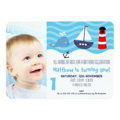 Boys Nautical 1st Birthday Party Invitation 11 Cm X 16 Card Boy