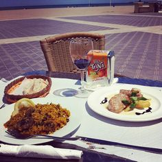 Eating paella at the beach in Valencia