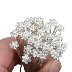 PIXNOR Matrimonio forcine - fermagli per capelli sposa forcine a forma di U di perle strass decorato 10pz