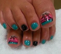Beautiful looking Palm Tree Nail Art design on the toes. The amazing color…
