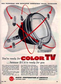 An awesome #retro magazine ad for color #TV, playing on the atom. #TBT