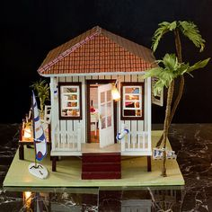 Wooden Puzzle Miniature Doll House Wood Handmade Dolls Toys miniatura Dollhouse Furniture Litht Birthday Gift-The beach house Wooden Dollhouse, Diy Dollhouse, Dollhouse Furniture, Dollhouse Miniatures, Wooden Diy, Handmade Wooden, Handmade Dolls, Diy Dolls House Kits, Beach House Pictures